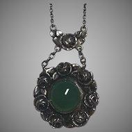 Antique German Jugendstil Martin Mayer 800 Silver Rose Design Chrysoprase Necklace Germany