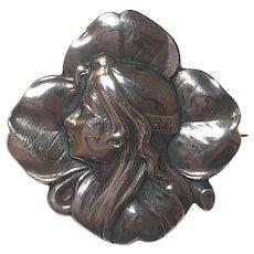 Antique Jugendstil 900 Silver Woman Four Leaf Clover Brooch Depose