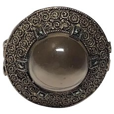 Vintage German Theodor Fahrner Sterling Silver Gilt Marcasite & Smoky Quartz Cabochon Ring Germany