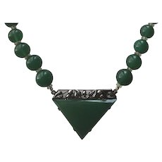 Vintage German Art Deco Sterling Silver Chrysoprase & Clear Glass Beaded Choker Necklace Germany