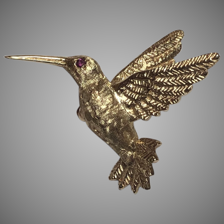 a3236b350 Vintage 14k Yellow Gold Ruby Eyed Hummingbird Bird Brooch : Freckle ...