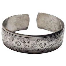 Vintage Danecraft Sterling Silver Flower Floral Design Cuff Bracelet