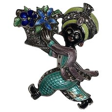 Vintage German Sterling Silver Enamel & Marcasite Blackamoor Carrying Flowers Brooch Germany