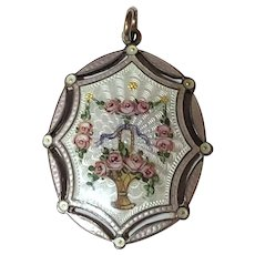 Antique Jugendstil Hermann & Speck 900 Silver Enamel Rose Flower Basket Pendant Depose