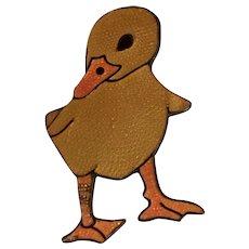 Vintage Margot De Taxco Enamel Duck Duckling Sterling Silver Mexico Brooch