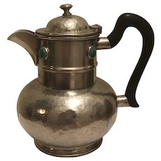 Vintage Arts & Crafts Ashberry Pewter Ruskin Pottery Roundels Hammered Coffee Pot or Teapot