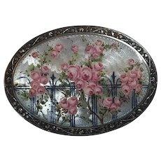 Antique Jugendstil German Meyle & Mayer 935 Sterling Silver Enamel Rose Flower Brooch Germany
