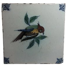 Antique Delft Polychrome Bird Tile