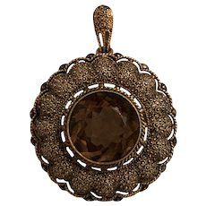 Vintage Art Deco Theodor Fahrner German Gilt Sterling Silver, Marcasite & Smoky Quartz Pendant Brooch Germany