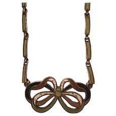 Vintage Margot de Taxco Mexico Sterling Silver & Enamel Bow Necklace