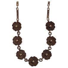 Vintage Theodor Fahrner German Sterling Silver Flower Necklace