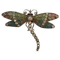 Antique Art Nouveau 935 Sterling Silver Plique a Jour Enamel & Paste Dragonfly Brooch