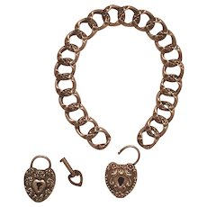 Antique Victorian Sterling Silver Repoussé Puffy Heart Padlock Charms & Key Bracelet