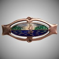 Antique Art Nouveau Charles Horner Sterling Silver & Enamel Sail Boat Lake Water Scene Brooch
