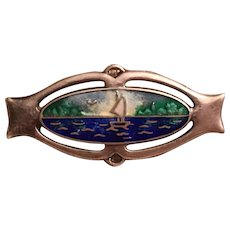 Antique Art Nouveau Charles Horner Sterling Silver & Enamel Sail Boat Lake Water Scene Brooch