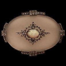 Vintage German Art Deco 1920s Theodor Fahrner Sterling Silver Rock Crystal Opal & Marcasite Brooch