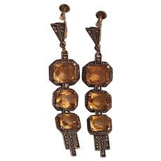 Vintage Signed Theodor Fahrner German Art Deco Sterling Silver Gold Topaz & Marcasite Dangle Earrings