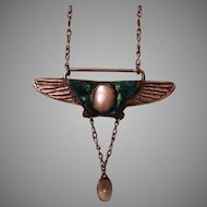 Antique Arts & Crafts Sterling Silver Winged Enamel Mother of Pearl & Moonstone Necklace