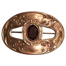 Antique Art Nouveau Sterling Front Purple Paste Sash Pin Brooch