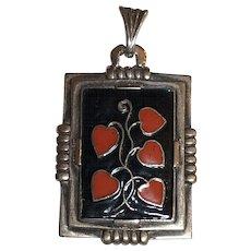Vintage Art Deco 935 Sterling Silver Enamel Heart Vine Pendant