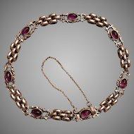 Antique Gustav Hauber German Jugendstil 800 Silver Amethyst Cabochon Bracelet