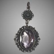 Antique Art Nouveau Peruzzi 800 Silver Filigree Amethyst Pendant