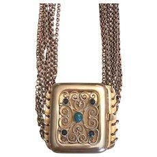 Antique Jugendstil German Gustav Hauber 835 Silver Seven Stranded Choker Necklace With Turquoise & Blue Glass Gilded Clasp