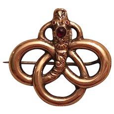 Antique Victorian Gold Filled Paste Snake Brooch
