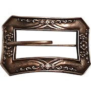 Antique Art Nouveau Sterling Front Belt Buckle Design Sash Pin