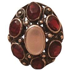 Antique Arts & Crafts Sterling Silver Moonstone & Garnet Ring