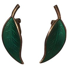Vintage David Andersen Sterling Silver & Green Enamel Leaf Earrings
