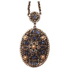 Vintage Alexander Korda Thief of Bagdad Blue Rhinestone, Faux Pearl & Enamel Necklace