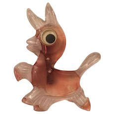 Vintage Reverse Carved Lucite Googly Eye Donkey Brooch - Red Tag Sale Item