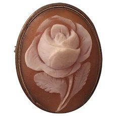 Vintage 800 Silver Carved Rose Flower Cameo Brooch Pendant