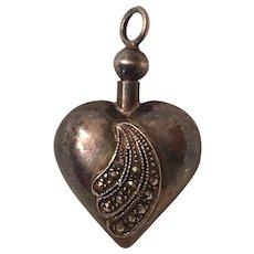 Vintage Sterling Silver Marcasite Heart Perfume Bottle Pendant