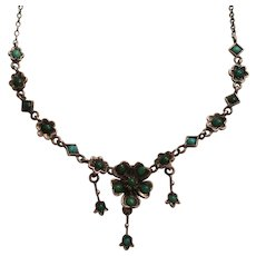 Antique Victorian Turquoise Flower Silver Necklace