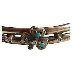 Antique Victorian Gilded 835 Silver Turquoise & Seed Pearl Clover Bypass Hinged Bangle Bracelet