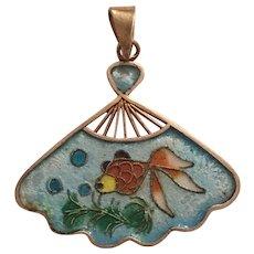 Vintage Chinese Export Silver Enamel Koi Goldfish Gold Fish Fan Shaped Pendant
