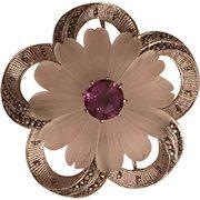 Vintage German Art Deco Theodor Fahrner Sterling Silver Rock Crystal Flower Amethyst & Marcasite Brooch Germany