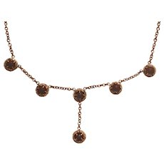 Vintage 10k Yellow Gold Saphiret Glass Negligee Drop Necklace