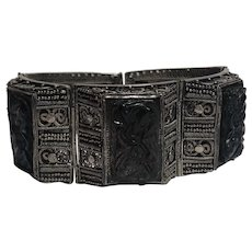 Vintage Asian Chinese Export Sterling Silver Bat Carved Smoky Quartz Filigree Bracelet