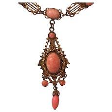 Vintage Art Deco Czech Pink Glass Cabochon Brass Drop Necklace