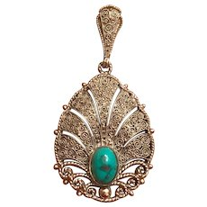 Vintage German Art Deco Theodor Fahrner Sterling Silver Filigree Turquoise Pendant Germany