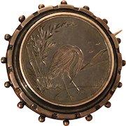 Antique Victorian Aesthetic Movement Sterling Silver Heron Crane Stork Bamboo Birds Brooch