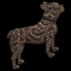 Vintage Art Deco 935 Sterling Silver Marcasite, Black Enamel & Pink Paste Eyed French Bulldog Dog Brooch