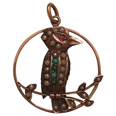 Antique Edwardian 9k 9ct Gold Turquoise, Seed Pearl, & Red Paste Kookaburra Bird Pendant