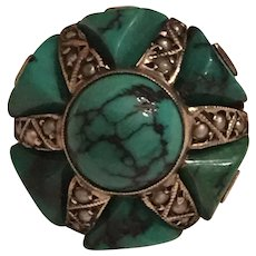 Vintage Art Deco Sterling Silver Turquoise & Seed Pearl Star Design Ring