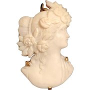 Vintage 14k Yellow Gold Cut Out Cameo Woman With Flowers In Hair Brooch Pendant