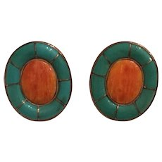 Native American Sterling Silver Inlaid Turquoise and Spiny Oyster Earrings