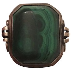 Antique Sterling Silver Malachite Ring